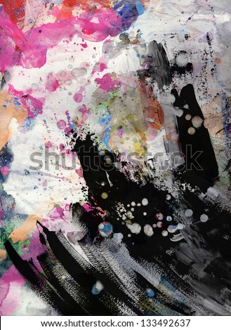 Abstract grunge texture with watercolor paint splatter - stock photo