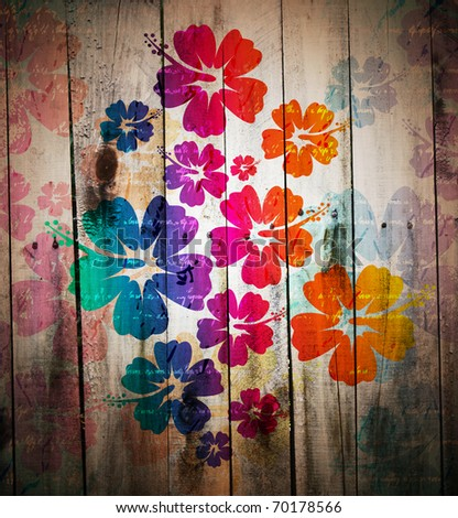 abstract grunge tropical background. Digital graffiti on a wooden fence - stock photo