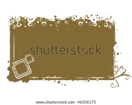 abstract grungy frame with circle, dots - stock photo