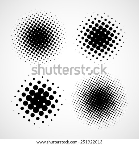 Abstract Halftone Backgrounds. Set of Isolated Modern Design Element - stock photo