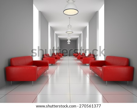 Abstract hall with a red sofa wall 3D rendering - stock photo