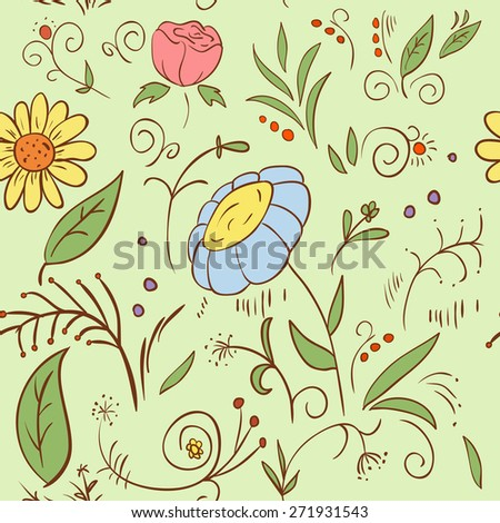Abstract hand draw seamless flower pattern illustration - stock photo