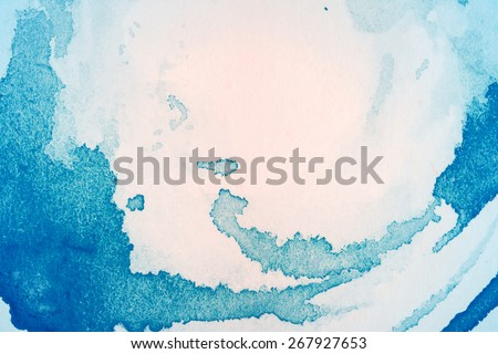 Abstract hand drawn blue and light pink watercolor background  - stock photo
