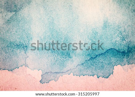 Abstract hand drawn blue and pink watercolor background  - stock photo