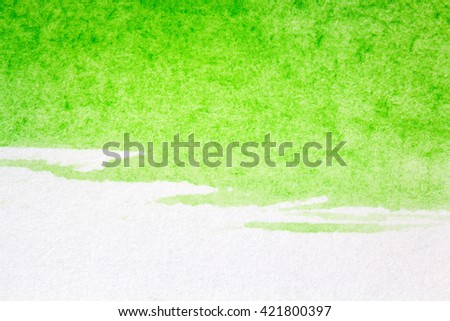 Abstract hand drawn green watercolor paints background  - stock photo