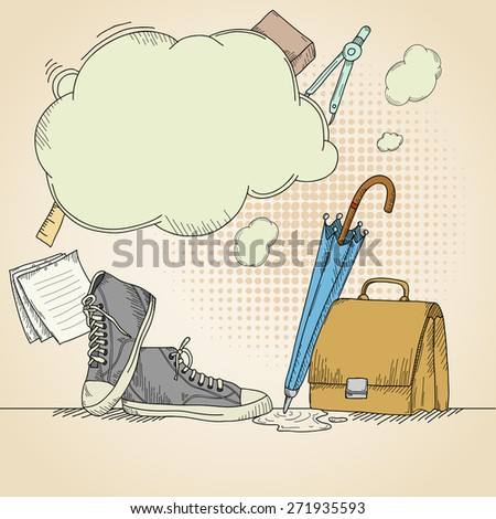 Abstract hand drawn school background with sneakers. - stock photo