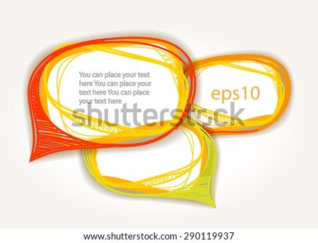 Abstract hand-drawn talking bubbles set. Raster version - stock photo
