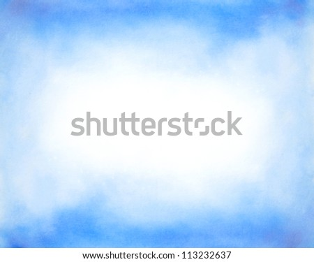Abstract hand drawn watercolor background: blue sky and white clouds. Great for textures, vintage design, and luxurious wallpaper - stock photo
