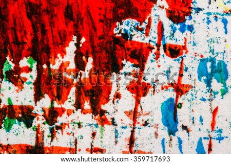 Abstract hand painted blue and red acrylic art background    - stock photo