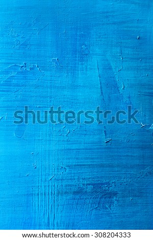 abstract hand painted blue paint canvas background  - stock photo