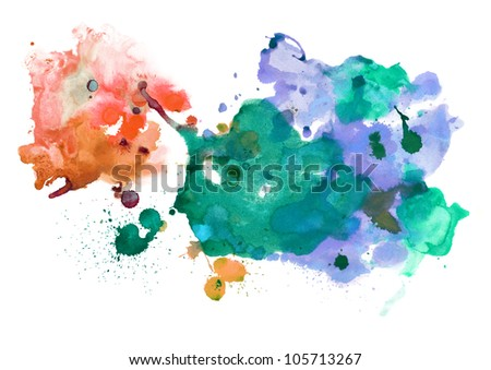 Abstract handmade watercolor stains - stock photo