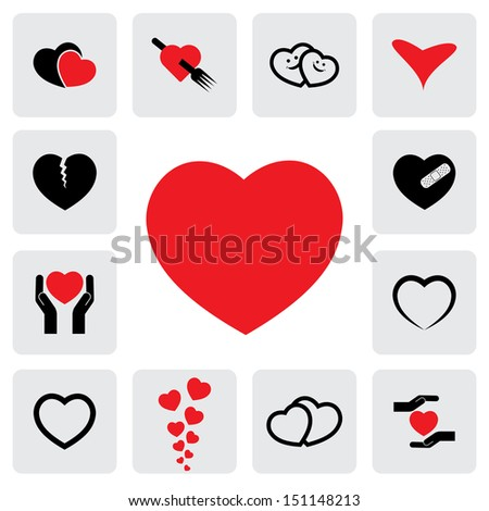 abstract heart icons ( signs ) for healing, love, happiness- graphic. This illustration represents concepts of passion, platonic love, break-up, healing & protection of heart's health, prevention - stock photo