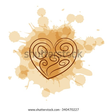 Abstract heart on coffee stain background. Swirls on watercolor splash imitation. - stock photo
