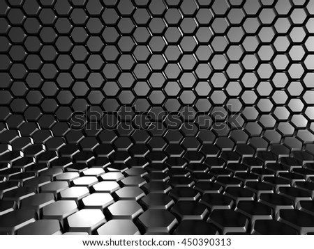 Abstract Hi-Tech Dark Metal Silver Background. 3d Render Illustration - stock photo