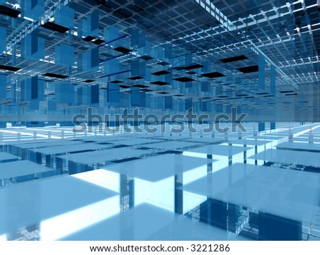 Abstract hi-tech transparent interior - infinite levels - stock photo