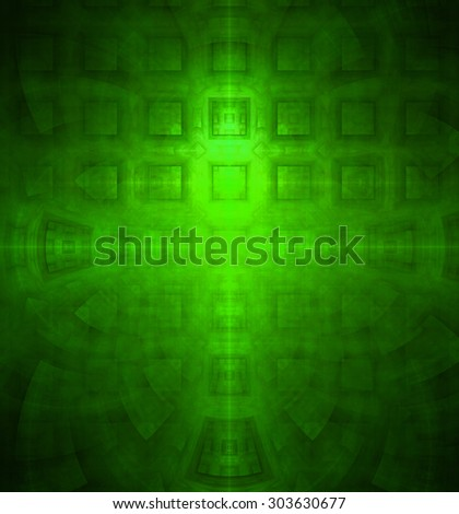 Abstract high resolution background with a detailed geometric square pattern and decorative arches, all in green - stock photo