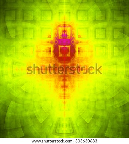 Abstract high resolution background with a detailed geometric square pattern and decorative arches, all in dark and bright vivid yellow,green,red - stock photo