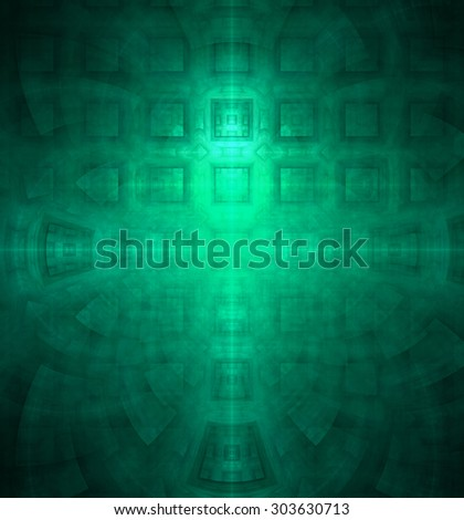 Abstract high resolution background with a detailed geometric square pattern and decorative arches, all in cyan - stock photo