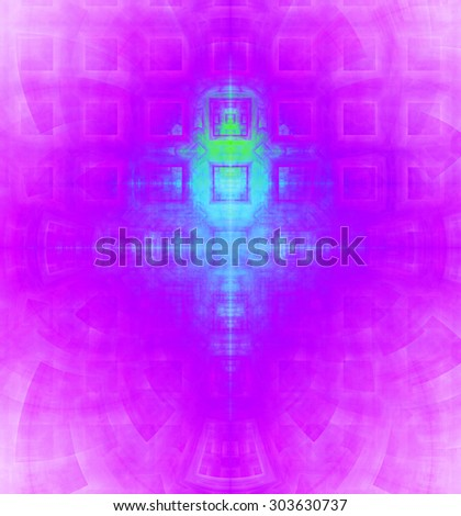 Abstract high resolution background with a detailed geometric square pattern and decorative arches, all in vivid cyan,pink - stock photo