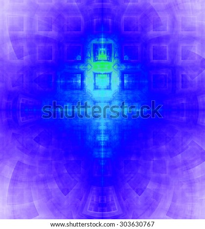 Abstract high resolution background with a detailed geometric square pattern and decorative arches, all in vivid cyan,blue,purple - stock photo