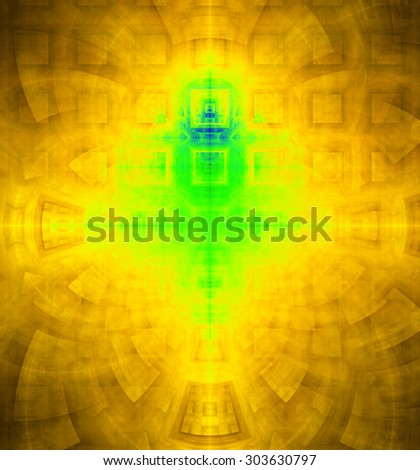 Abstract high resolution background with a detailed geometric square pattern and decorative arches, all in dark and bright vivid yellow,green,blue - stock photo