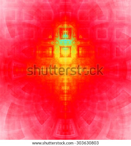 Abstract high resolution background with a detailed geometric square pattern and decorative arches, all in vivid red,yellow,green - stock photo