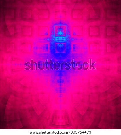 Abstract high resolution background with a detailed geometric square pattern and decorative arches, all in dark and bright vivid red,pink,blue - stock photo
