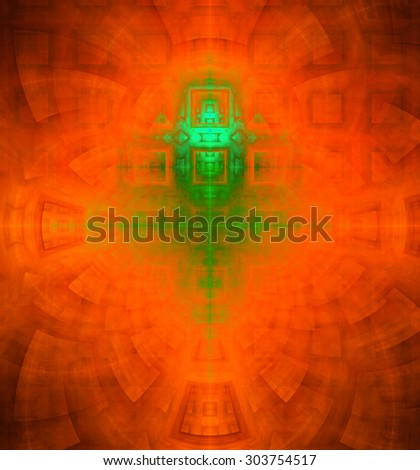 Abstract high resolution background with a detailed geometric square pattern and decorative arches, all in dark and bright vivid orange,red,green - stock photo