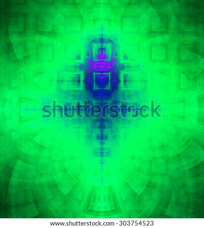 Abstract high resolution background with a detailed geometric square pattern and decorative arches, all in dark and bright vivid green,blue,pink - stock photo