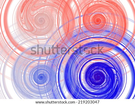 Abstract high resolution background with four detailed pastel colored red and blue fractal bended and twisted spirals - stock photo