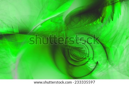 Abstract high resolution fractal background with a detailed shadowy abstract pattern with a circular tunnel and various feather-like decorative structures in green and black - stock photo