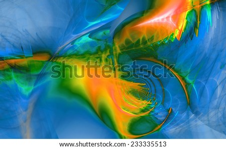 Abstract high resolution fractal background with a detailed shining abstract twisted pattern with circular tunnel and various feather-like decorative structures in blue,green,yellow,orange,pink colors - stock photo