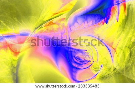 Abstract high resolution fractal background with a detailed shining abstract twisted pattern with a circular tunnel and various feather-like decorative structures in blue,pink and yellow colors - stock photo