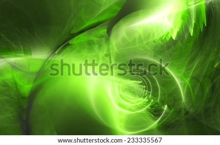 Abstract high resolution fractal background with a detailed shining abstract twisted pattern with a circular tunnel resembling a hyperspace and various feather-like decorative structures in green - stock photo