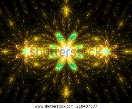 Abstract high resolution wallpaper with a detailed modern exotic looking shining blazing star pattern in yellow, orange and green colors and against black background  - stock photo