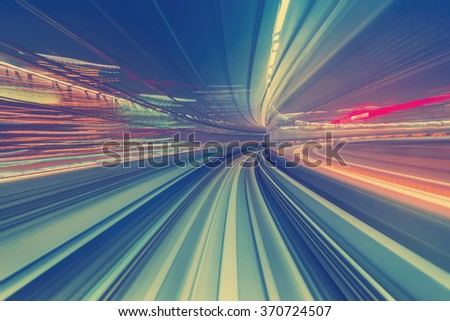 Abstract high speed technology POV motion blurred concept image from the Yuikamome monorail in Tokyo Japan - stock photo