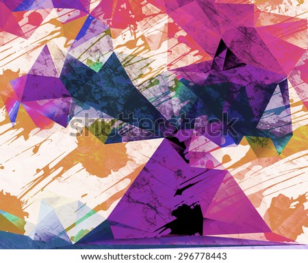 Abstract hipster background with splashes. Grunge colorful design in futuristic style. Modern bright emotional art. - stock photo