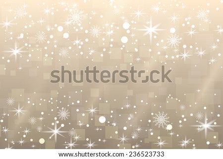 Abstract holiday Christmas background with snowflakes and shiny stars in white and gold color. New year lights, starry sky  - stock photo