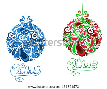 Abstract holidays balls in floral style for christmas design. Vector version also available in gallery - stock photo