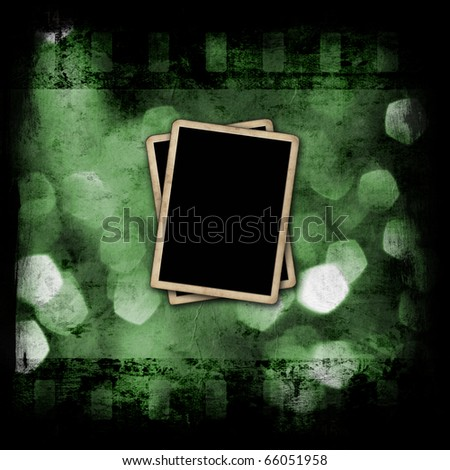 Abstract holidays lights with film strip and photo frames - stock photo