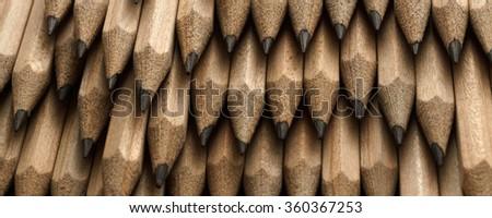 Abstract horizontal composition, of pencils, close up, macro  - banner / header edition           - stock photo
