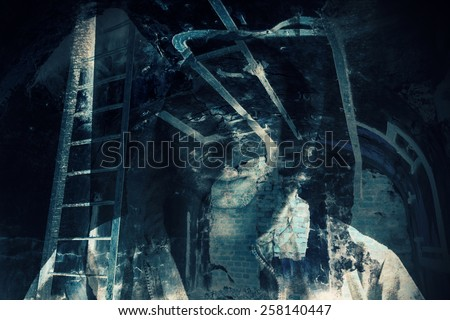Abstract horror background, abandoned dark room with ghost of dangerous man in hood. Double exposure photo effect - stock photo