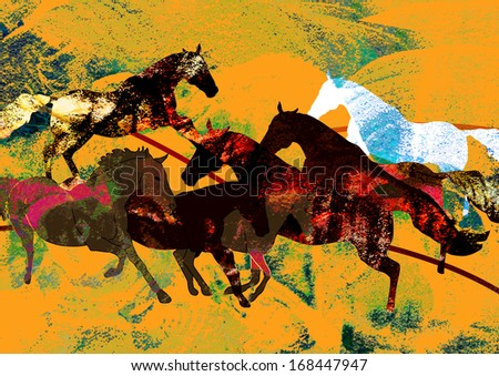 abstract horses background,digital and modern painting useful for wall paper or wrapping paper design,computer generated horses - stock photo