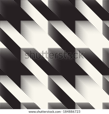 Abstract hounds tooth halftone background. Seamless pattern.  - stock photo