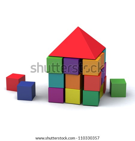 Abstract house made of children blocks 3d - stock photo
