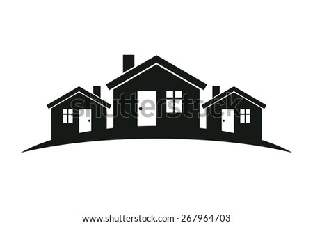 Abstract houses with horizon line. Real estate business theme.  - stock photo