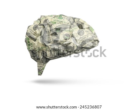 abstract human brain made out of dollar bills isolated on white background - stock photo