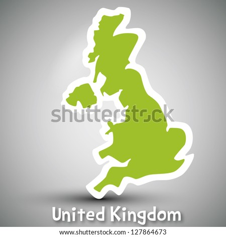abstract icon map of United Kingdom - stock photo