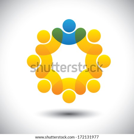 Abstract icons of employees team & manager in circle - illustration. This icon graphic can also represent concept of leader and leadership, supervisor and staff, community members and leader, etc - stock photo