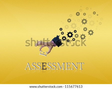 Abstract ideas of mechanical hand with business word. - stock photo